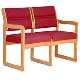 2 Seater Reception Sofa With 2 End Arms Medium Oak Burgundy