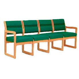 4 Seater Reception Sofa With 2 End Arms Medium Oak Green Fabric