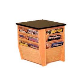 "Wooden Mallet End Table With Magazine Rack - 19 x 20-3/4"" -  Medium Oak"