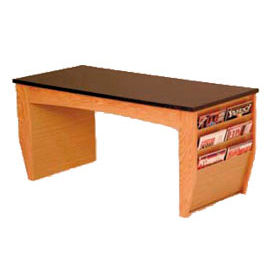 "Wooden Mallet Coffee Table With Magazine Rack - 46-1/2"" -  Medium Oak"