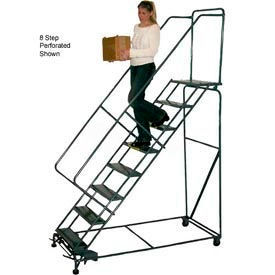 """11 Step 24""""W Steel Safety Angle Rolling Ladder W/ Handrails - Perforated Tread"""
