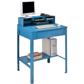 "Shop Desk w Pigeonhole Compartments, Slope Top 34-1/2""W x 30""D x 38 to 42-1/2""H-Blue"