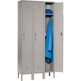 Capital Locker Single Tier 12x15x72 3 Door Ready To Assemble Gray