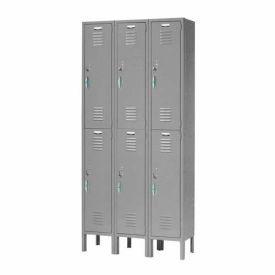 Capital™ Locker Double Tier 12x18x36 6 Door Ready To Assemble Gray