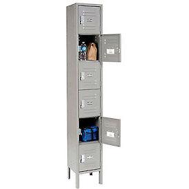 Global™ Locker Six Tier 12x15x12 6 Door Ready To Assemble Gray