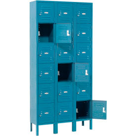 Global™ Locker Six Tier 12x15x12 18 Door Ready To Assemble Blue