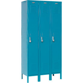 Paramount® Locker Single Tier 12x15x60 3 Door Ready To Assemble Blue