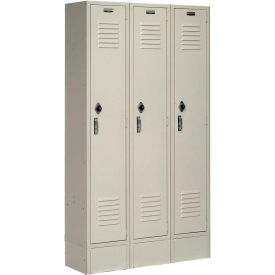 Paramount® Locker Single Tier 12x18x60 3 Door Ready To Assemble Tan