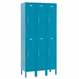 Paramount® Locker Double Tier 12x12x36 6 Door Ready To Assemble Blue