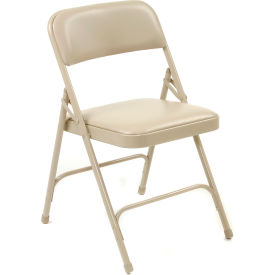 Steel Folding Chair with Padded Vinyl - Beige - Pkg Qty 4