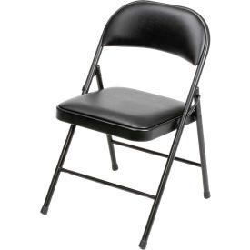 Padded Vinyl Folding Chair - Black - Pkg Qty 4