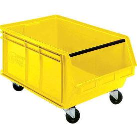 Quantum Mobile Magnum Plastic Stackable Storage Bin QUS275MOB 16-1/2 x 18 x 11 Yellow - Pkg Qty 3