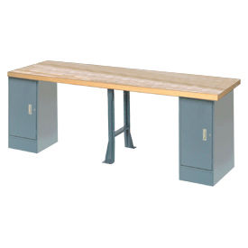"""120"""" W x 30"""" D Extra Long Industrial Workbench, Maple Butcher Block Square Edge - Gray"""