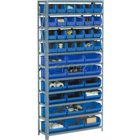 Steel Open Shelving with 36 Blue Plastic Stacking Bins 10 Shelves - 36x18x73