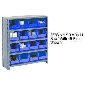 Steel Closed Shelving with 42 Blue Plastic Stacking Bins 11 Shelves - 36x12x73