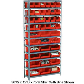 Steel Open Shelving with 15 Red Plastic Stacking Bins 6 Shelves - 36x12x39