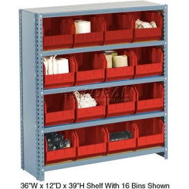 Steel Closed Shelving with 12 Red Plastic Stacking Bins 5 Shelves - 36x18x39