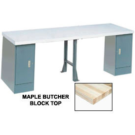 """96"""" W x 30"""" D Extra Long Production Workbench, Maple Butcher Block Square Edge - Gray"""