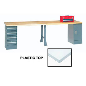 "120"" W x 30"" D Extra Long Production Workbench, Plastic Laminate Square Edge - Gray"