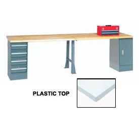 "144"" W x 30"" D Extra Long Production Workbench, Plastic Laminate Square Edge - Gray"