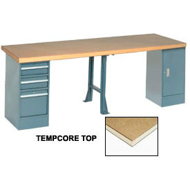 """96"""" W x 30"""" D Extra Long Production Workbench, Shop Top Square Edge - Gray"""