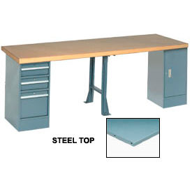 """120"""" W x 30"""" D Extra Long Production Workbench, Steel Square Edge - Gray"""