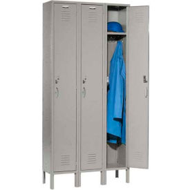 Capital Locker Single Tier 12x15x72 3 Door Assembled Gray