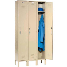 Capital Locker Single Tier 12x15x72 3 Door Assembled Tan