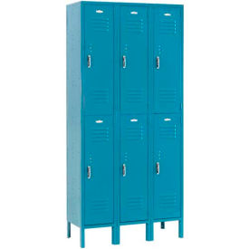Paramount® Locker Double Tier 12x18x36 6 Door Assembled Blue