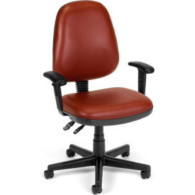 OFM Straton Series Swivel Task Chair with Arms, Anti-Microbial/Anti-Bacterial Vinyl, Mid Back, Wine
