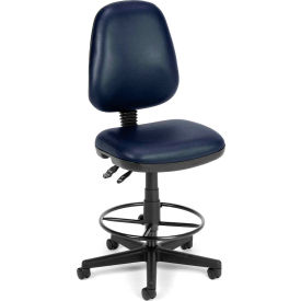 OFM Straton Series Armless Swivel Task Chair with Drafting Kit, Anti-Microbial Vinyl, Navy
