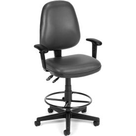OFM Straton Series Swivel Task Chair with Arms and Drafting Kit, Anti-Microbial Vinyl, Charcoal