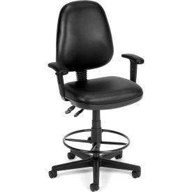 OFM Straton Series Swivel Task Chair with Arms and Drafting Kit, Anti-Microbial Vinyl, Black