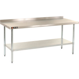 "Aero Manufacturing AS30X72 72""W x 30""D 18 Gauge Stainless Steel Workbench W/ Backsplash"