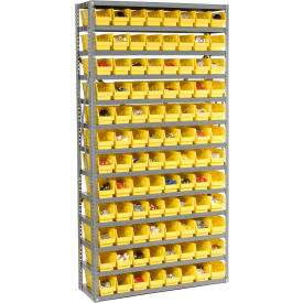 "Steel Shelving with 96 4""H Plastic Shelf Bins Yellow, 36x12x72-13 Shelves"