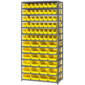 "Steel Shelving with Total 72 4""H Plastic Shelf Bins Yellow, 36x18x72-13 Shelves"