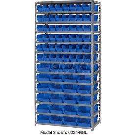 "Steel Shelving with 96 4""H Plastic Shelf Bins Blue, 36x18x72-13 Shelves"