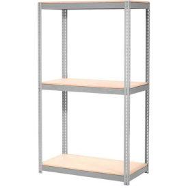 "Expandable Starter Rack 48""W x 12""D x 84""H Gray With 3 Level Wood Deck 1500lb Cap Per Deck"