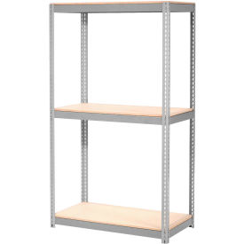 "Expandable Starter Rack 96""W x 24""D x 84""H Gray With 3 Level Wood Deck 1100lb Cap Per Deck"