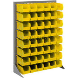 """Singled Sided Louvered Bin Rack 35""""W x 15""""D x 50""""H with 58 of Yellow Stacking Akrobins"""