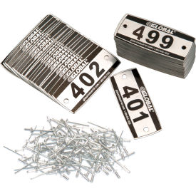 Global™ Locker Number Plate Kit - Pkg Of 200 Numbered 300-499