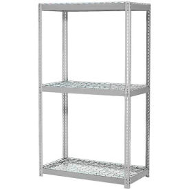 "Expandable Starter Rack 36""W x 12""D x 84""H Gray With 3 Level Wire Deck 1500lb Cap Per Deck"
