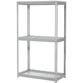 "Expandable Starter Rack 48""W x 12""D x 84""H Gray With 3 Level Wire Deck 1500lb Cap Per Deck"