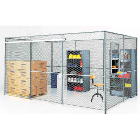 Wire Mesh Partition Security Room 20x20x10 with Roof - 3 Sides w/ Window