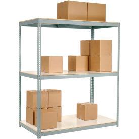 "Wide Span Rack 96""W x 24""D x 60""H Gray With 3 Shelves Laminated Deck 800 Lb Cap Per Level"