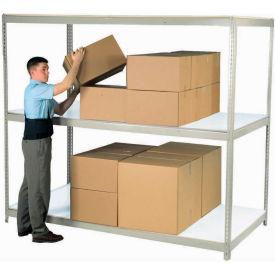 "Wide Span Rack 96""W x 48""D x 84""H Gray With 3 Shelves Laminated Deck 800 Lb Cap Per Level"