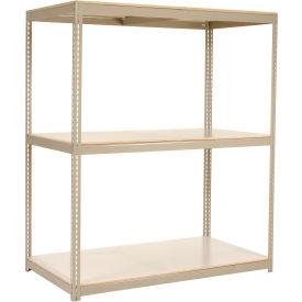 "Wide Span Rack 96""W x 48""D x 84""H Tan With 3 Shelves Laminated Deck 1100 Lb Cap Per Level"
