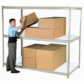 "Wide Span Rack 72""W x 36""D x 96""H Tan With 3 Shelves Laminated Deck 900 Lb Cap Per Level"