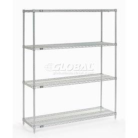 "Nexel Stainless Steel Wire Shelving 60""W X 18""D X 74""H"