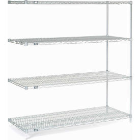 "Nexel Stainless Steel Wire Shelving Add-On 60""W X 24""D X 63""H"
